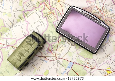 GPS - global positioning system and car on map - stock photo