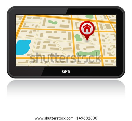 gps navigation device with map - stock photo