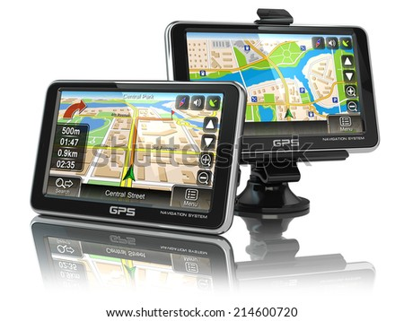 GPS navigation system on white isolated background. 3d