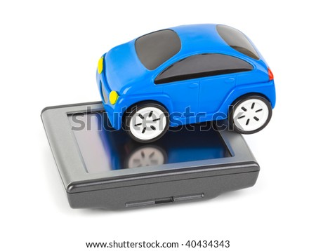 GPS navigator and toy car isolated on white background