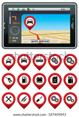 GPS navigator with the pointer autoservice. Raster illustration.