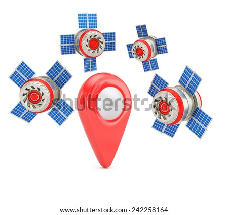 GPS positioning concept isolated on white background. 3d render - stock photo
