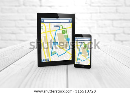 GPS satellite navigation and location route planning concept: digital generated smartphone and tablet computer with wireless navigator map internet application. All screen graphics are made up. - stock photo