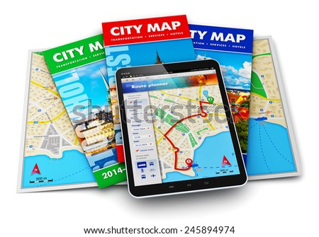 GPS satellite navigation, travel, tourism and location route planning business concept: set of color city maps and tablet computer with navigator map internet application on screen isolated on white