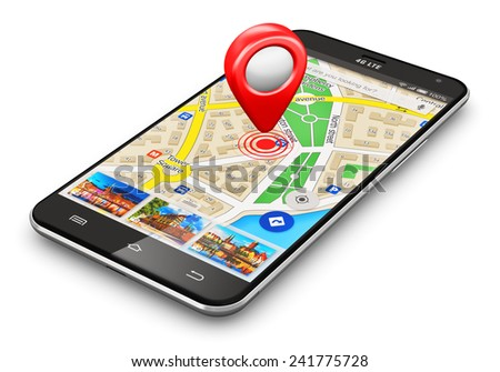 GPS satellite navigation, travel, tourism and location route planning business concept: smartphone with wireless navigator map service internet app destination pointer marker icon isolated on white