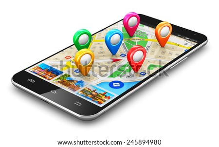 GPS satellite navigation, travel, tourism and location route planning business concept: smartphone with navigator application on screen and group of destination pointer marker icons isolated on white