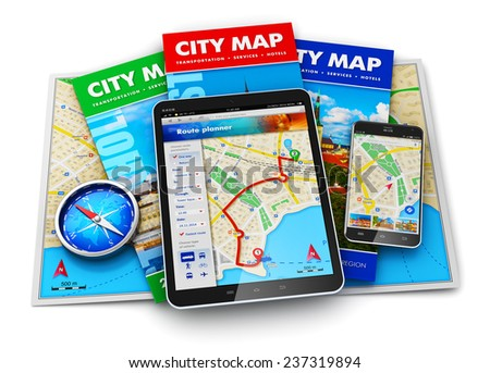 GPS satellite navigation, travel, tourism and location route planning concept: set of city maps, compass, tablet computer and smartphone with navigator application isolated on white background