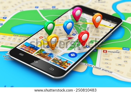 GPS satellite navigation, travel, tourism and location route planning concept: smartphone with navigator map internet application and group of colorful destination pointer marker icons on city map