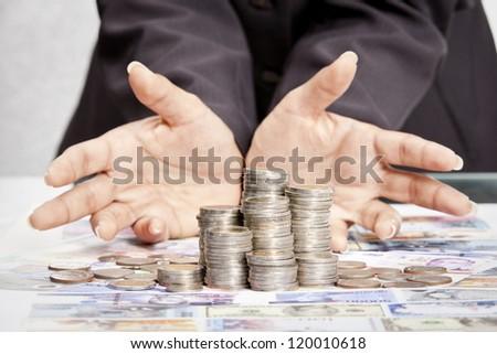grabbing money - stock photo