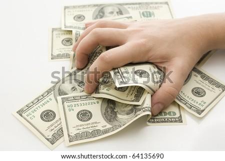 Grabbing money isolated on white background - stock photo