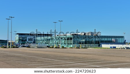GRACE-HOLLOGNE, BELGIUM-OCTOBER 19, 2014: Airport of Liege or Liege-Bierset. This airport used more than 315000 passengers in 2013