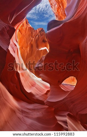 Graceful arches in magic Antelope Canyon in the Navajo Reservation. The United States.