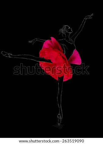 Graceful Ballet Dancer in Flower Tutu Skirt on Black Background - stock photo