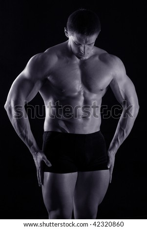 graceful, harebrained and strong wrestler - stock photo