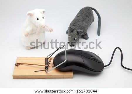 graceful scene of trapped mice - stock photo
