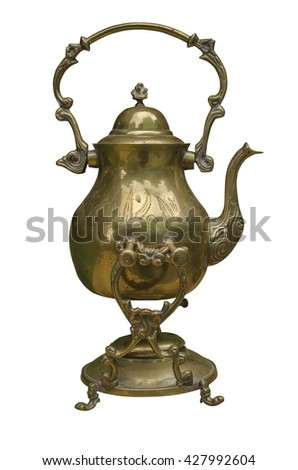 Graceful Vintage Copper kettle isolated