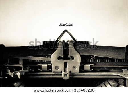 Gracias word typed on a Vintage Typewriter.   - stock photo