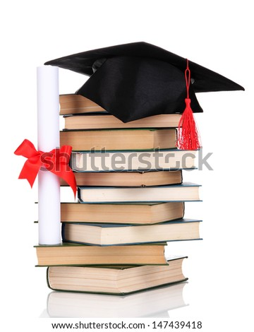 Grad hat with diploma and books isolated on white