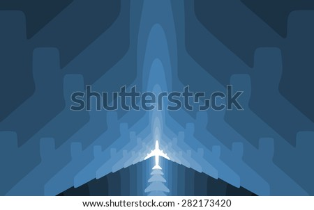 Graded airplane silhouettes background. Symmetric composition. Wallpaper version. - stock photo