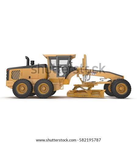 Grader Heavy earth moving equipment on white. Side view. 3D illustration
