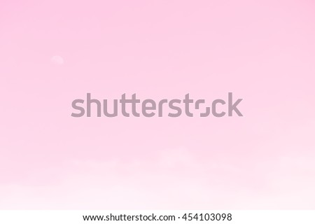 Gradient of pastel color, soft color gradient of fluffy cloud and half moon on a day light sky background, use for business presentation background or desktop wallpaper - stock photo