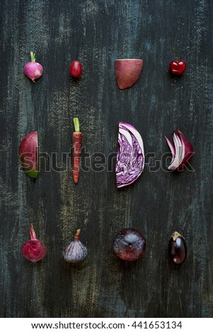 Gradient of purple colour tone fruit and vegetables from light to dark, artistic food poster of fresh produce