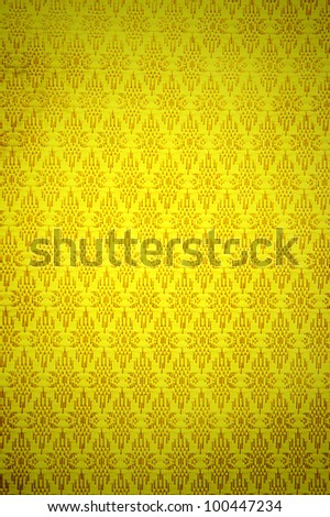Gradient Thai pattern with gold pattern Fabric - stock photo