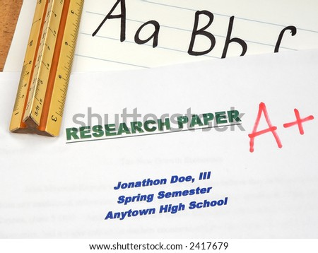 Grading Papers for School - Research - stock photo