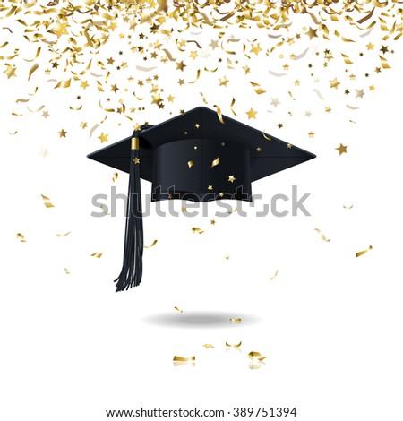 graduate cap and golden confetti - stock photo