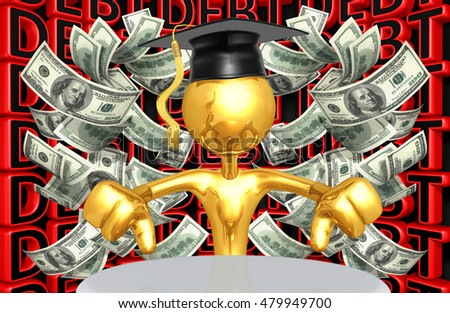 Graduate Character With Money And Debt 3D Illustration