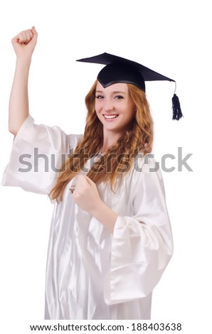 Graduate girl isolated on white - stock photo