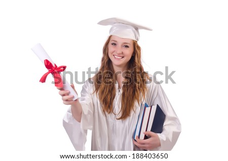 Graduate girl with diploma and books  isolated on white - stock photo