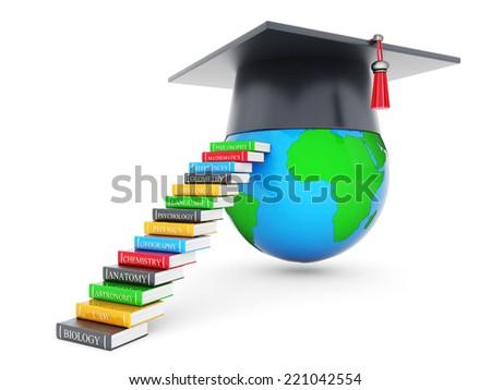 graduate hat and globe isolated on white background - stock photo
