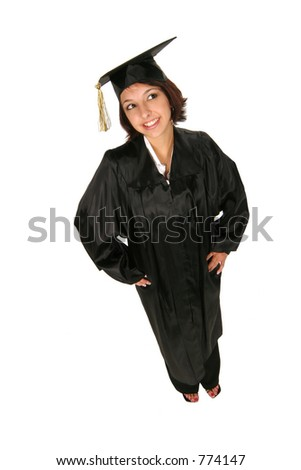 graduate in cap and gown standing on white background