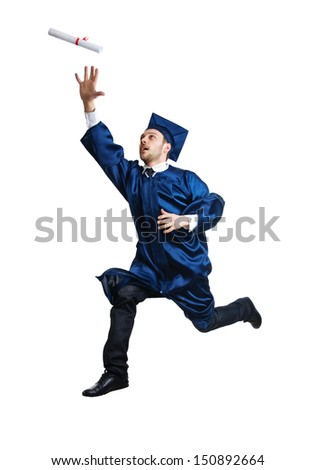 Graduate student jumping in the air, catching a diploma