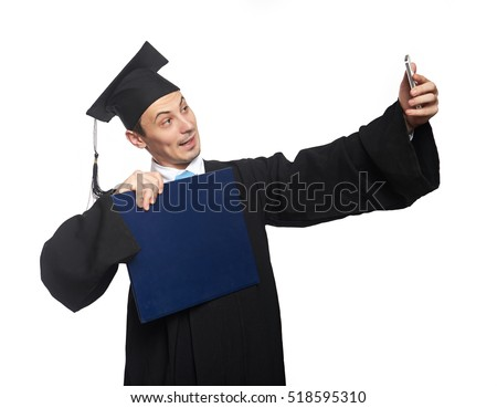 Graduate student take selfie with diploma isolated on white background