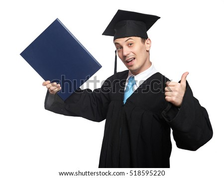 Graduated student man with diploma isolated on white background