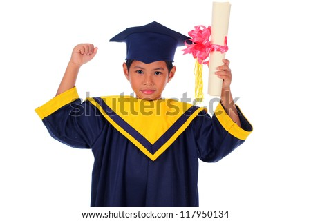 graduating little asian student kid isolated on white - stock photo