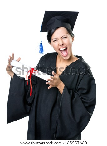 Graduating student in academic black gown and square cap with the diploma, isolated on white