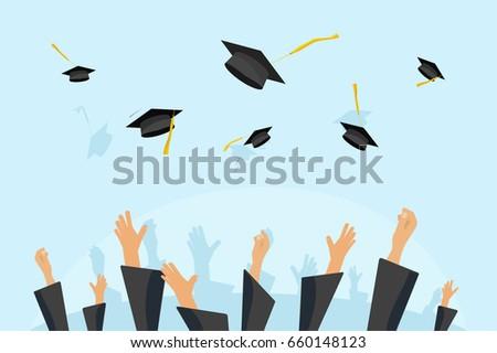 Graduation Caps In The Air Clipart | www.pixshark.com ...