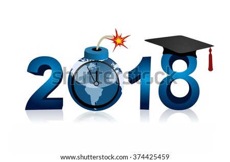 Graduation 2018 bomb world map five stock illustration 374425459 graduation 2018 and bomb with world map five minutes to twelve gumiabroncs Choice Image