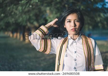 Graduation beautiful Asain girl with Film vintage tone effect - stock photo