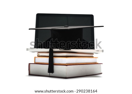 graduation cap and book with laptop isolated on white background - stock photo