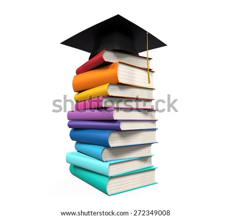 Graduation Cap and Books - stock photo