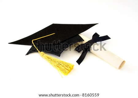 graduation cap and diploma isolated on a white background. - stock photo