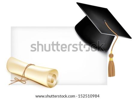 Graduation cap and diploma. Rasterized illustration.  - stock photo