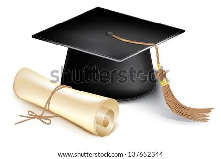 Graduation cap and diploma. Rasterized illustration. Vector version in my portfolio - stock photo