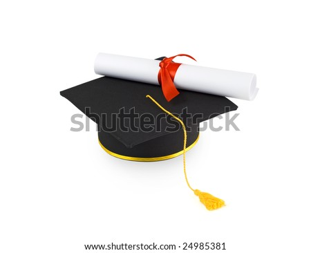 graduation cap and diploma with red ribbon isolated on white - stock photo