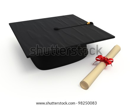 graduation cap diploma render isolated on white and clipping path
