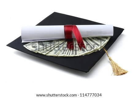 graduation cap ,dollars and a diploma with red ribbon - stock photo